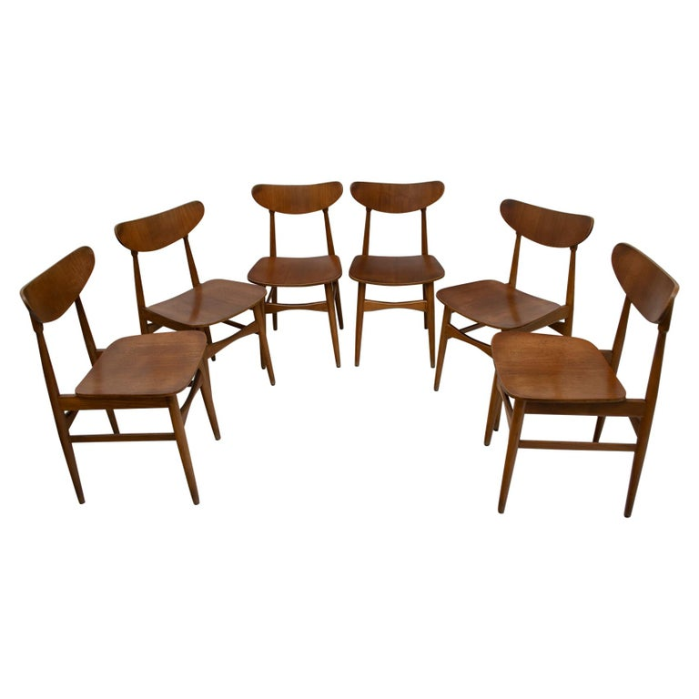 Six Mid-Century Modern Danish Curved Wood Chairs, 1960 For Sale