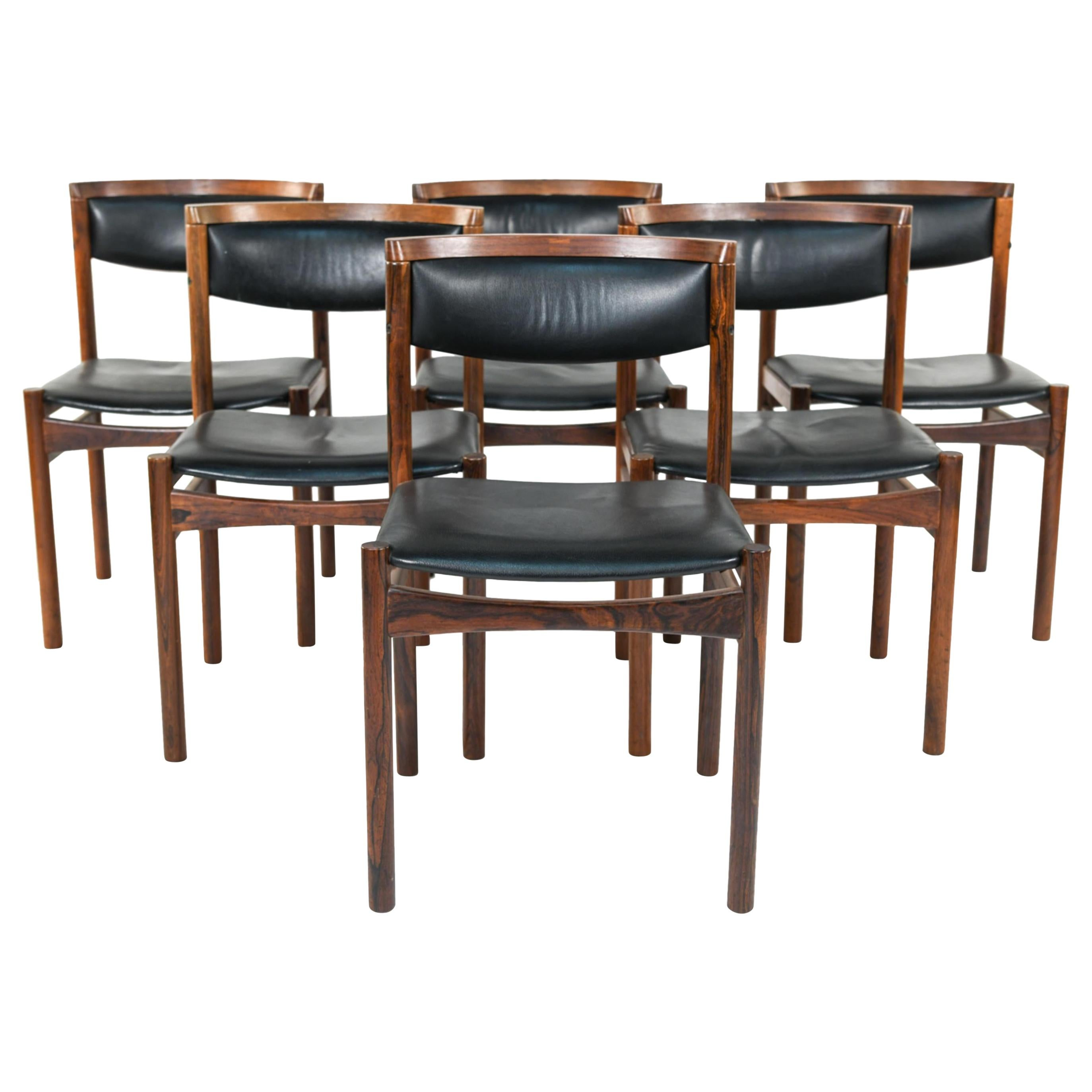 Six Mid-Century Modern Danish Dining Chairs, Soro Stolefabrik Denmark, Rosewood