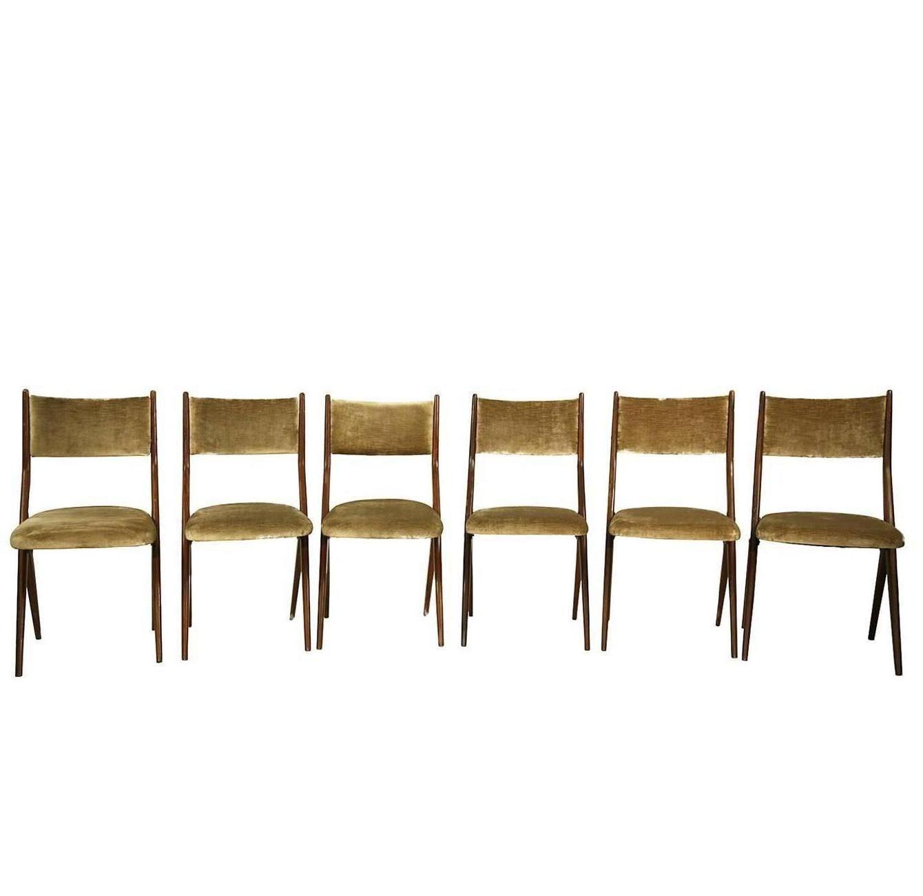 Six Mid-Century Modern Italian Scissor Shape Mahogany and Velvet Dining Chairs