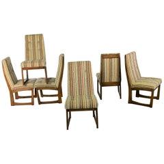 Six Mid-Century Modern Lane Alta Vista Dining Chairs Original Stripe Upholstery