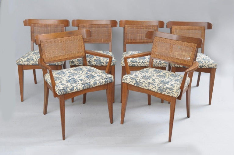 Six Mid-Century Modern Walnut Curved Cane Back Dining Chairs Tomlinson Style For Sale 7