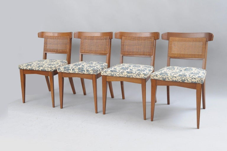 Mid-20th Century Six Mid-Century Modern Walnut Curved Cane Back Dining Chairs Tomlinson Style For Sale