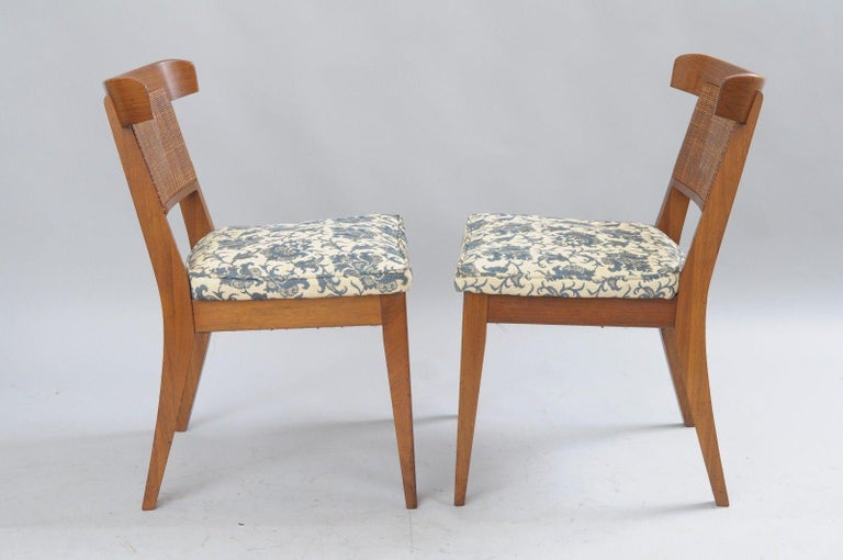 Six Mid-Century Modern Walnut Curved Cane Back Dining Chairs Tomlinson Style For Sale 2