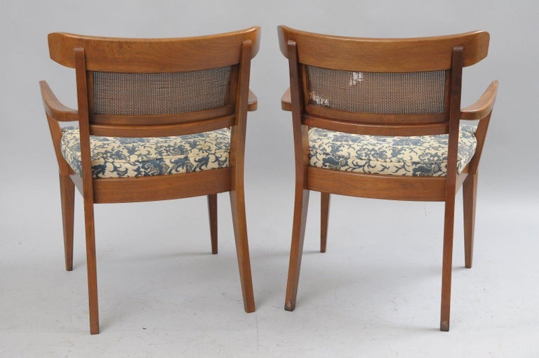 Six Mid-Century Modern Walnut Curved Cane Back Dining Chairs Tomlinson Style For Sale 3