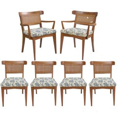 Six Mid-Century Modern Walnut Curved Cane Back Dining Chairs Tomlinson Style
