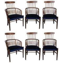 Six Mid-Century Modern Windsor Tall Back Dining Chairs