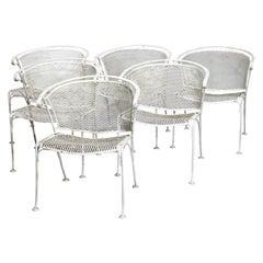 Six Mid-Century Modern Wire Mesh Patio Armchairs, 20th Century