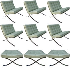 Six Midcentury Barcelona Chairs in Stainless Steel and Leather