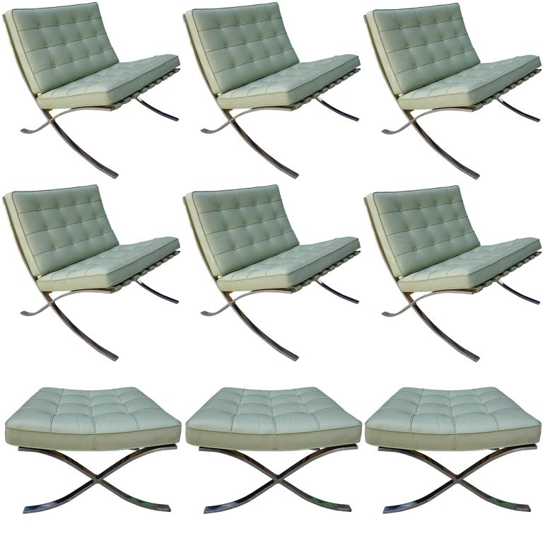 Awesome Six Midcentury Barcelona Chairs In Stainless Steel And Caraccident5 Cool Chair Designs And Ideas Caraccident5Info