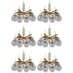 Six Midcentury Chandeliers with Brass Fixture and Hand-Blown Glass, Europe