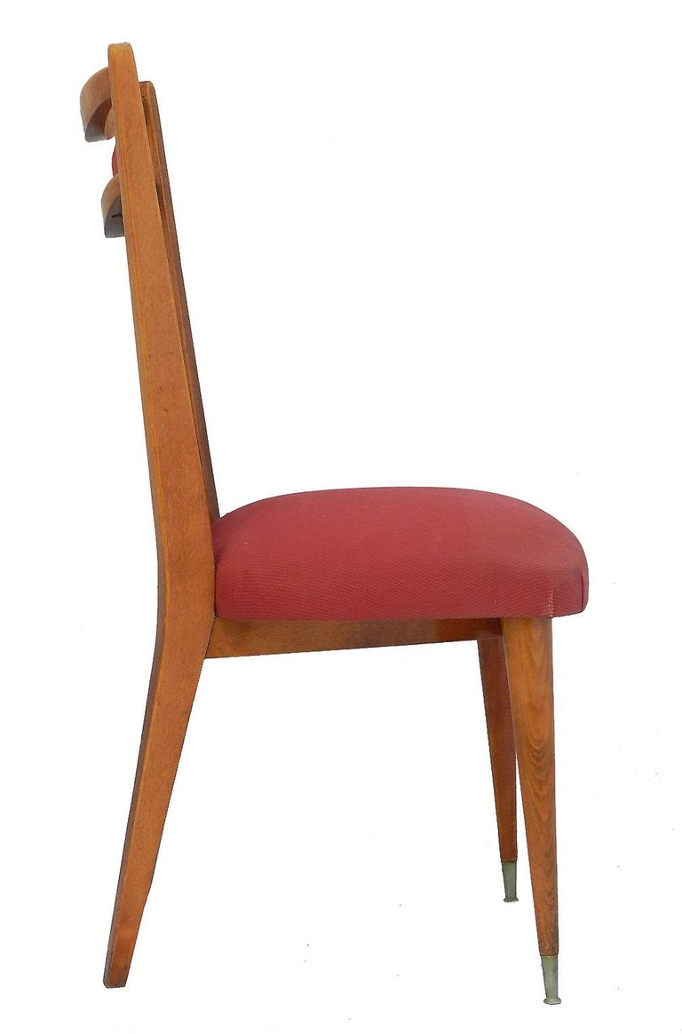 Six Midcentury Dining Chairs French Upholstered Easy to Recover  In Good Condition For Sale In , FR
