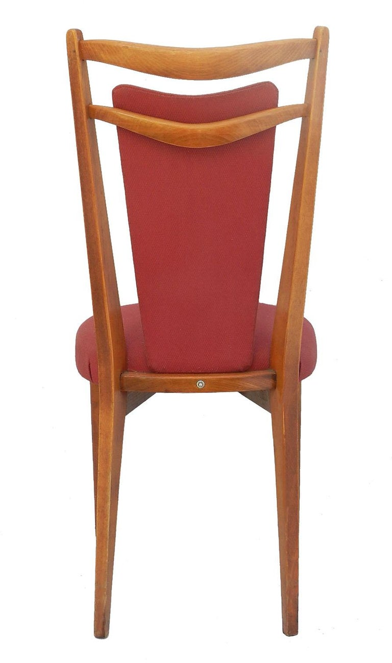 Upholstery Six Midcentury Dining Chairs French Upholstered Easy to Recover  For Sale