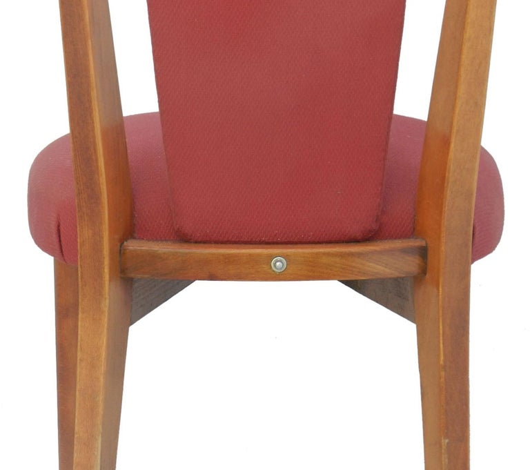 Six Midcentury Dining Chairs French Upholstered Easy to Recover  For Sale 1