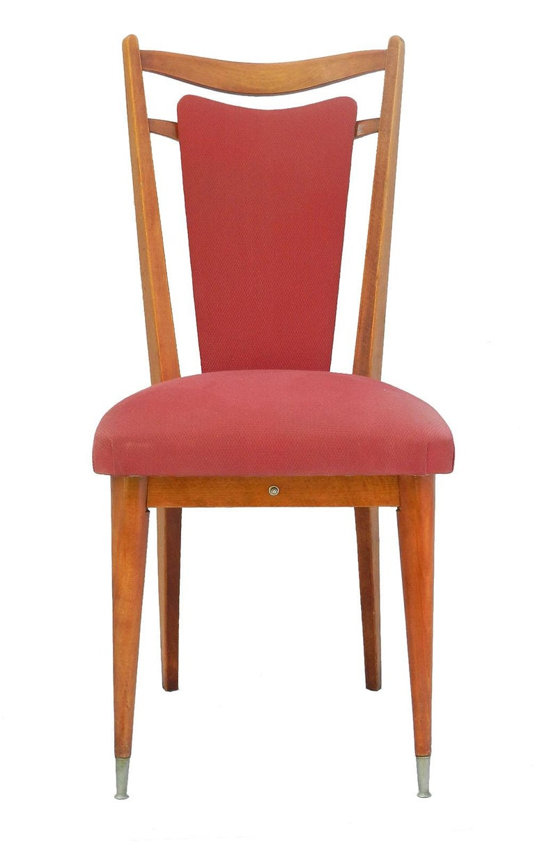 Six Midcentury Dining Chairs French Upholstered Easy to Recover  For Sale 2