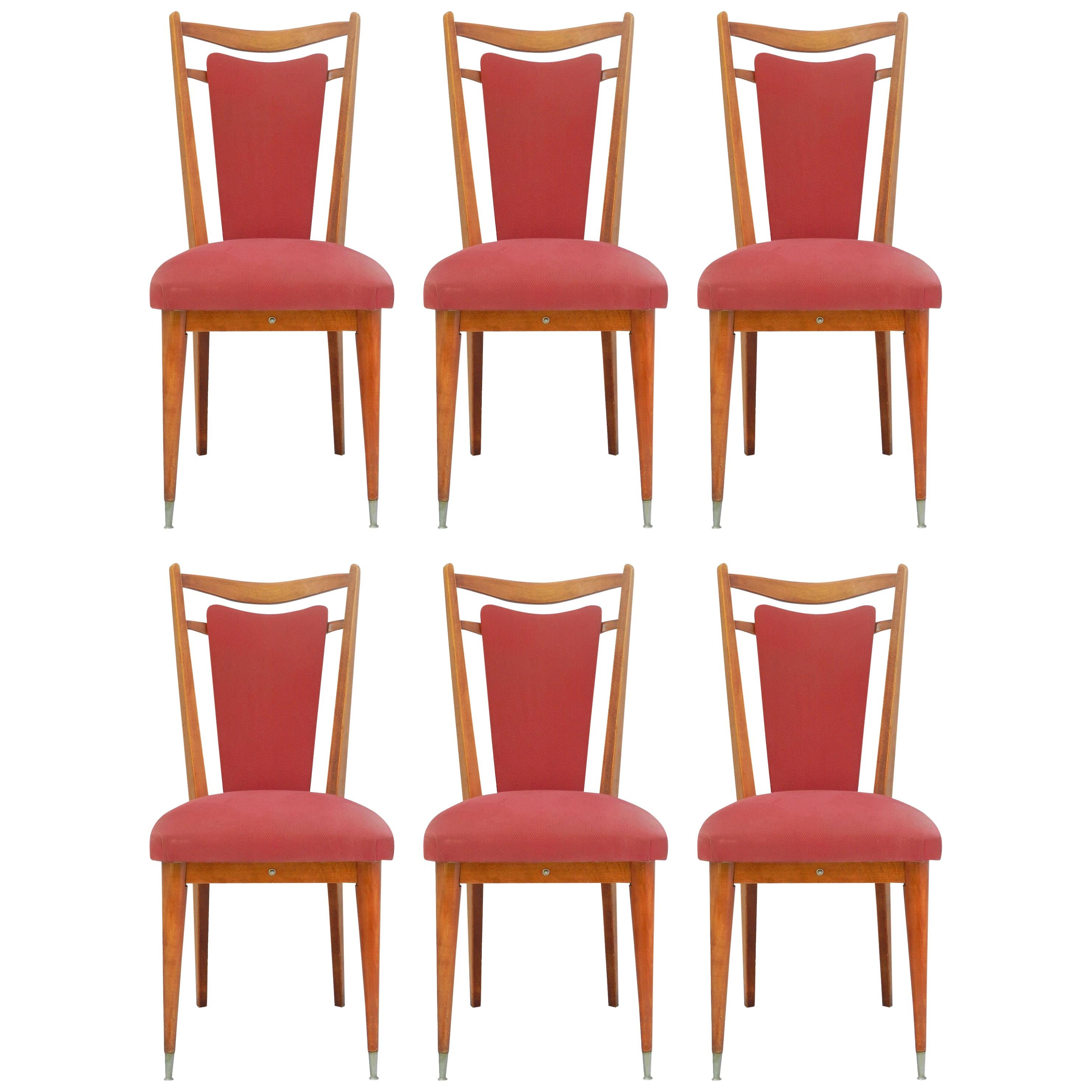 Six Midcentury Dining Chairs French Upholstered Easy to Recover