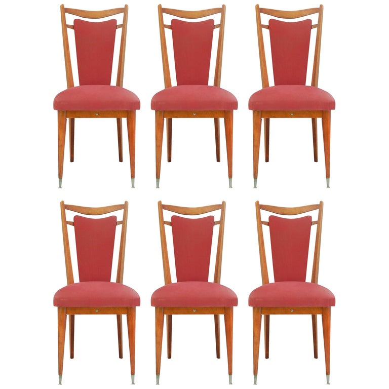 Six Midcentury Dining Chairs French Upholstered Easy to Recover  For Sale