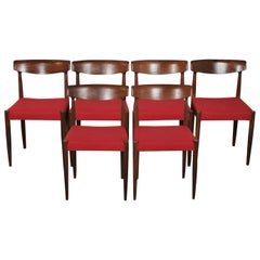 Six Midcentury Dining Chairs in Afromosia by Knud Faerch for Slagelse