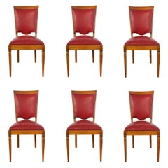 Six Midcentury Dining Chairs Red Leather French, circa 1960