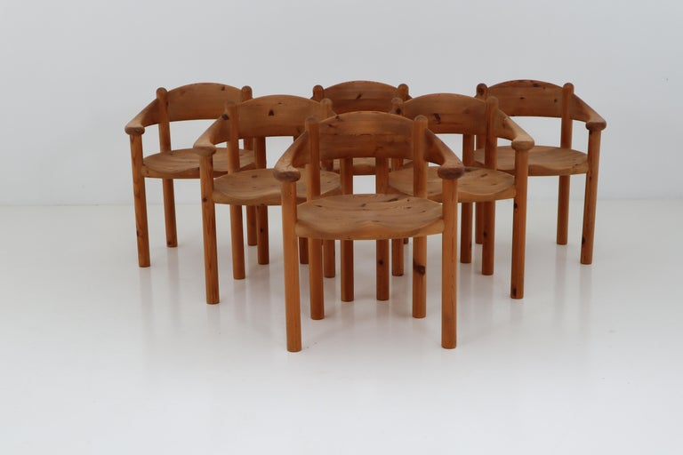 Six Midcentury Dining Room Chairs in Pinewood by Rainer Daumiller, 1970s For Sale 4