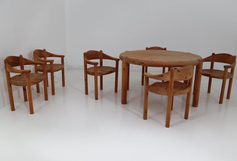 Six Midcentury Dining Room Chairs in Pinewood by Rainer Daumiller, 1970s For Sale 6