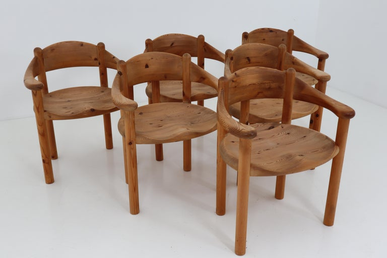 Six Midcentury Dining Room Chairs in Pinewood by Rainer Daumiller, 1970s For Sale 8