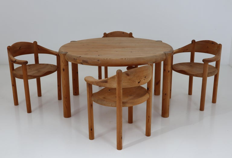 Six Midcentury Dining Room Chairs in Pinewood by Rainer Daumiller, 1970s For Sale 9