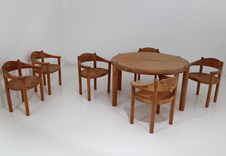 Mid-Century Modern Six Midcentury Dining Room Chairs in Pinewood by Rainer Daumiller, 1970s For Sale