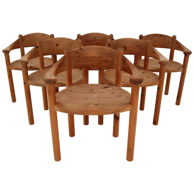 Six Midcentury Dining Room Chairs in Pinewood by Rainer Daumiller, 1970s For Sale