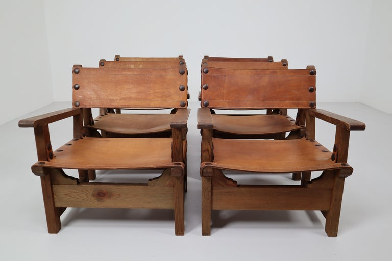 Six Midcentury French Lounge Chairs in Patinated Cognac Saddle Leather, 1950s In Good Condition For Sale In Almelo, NL
