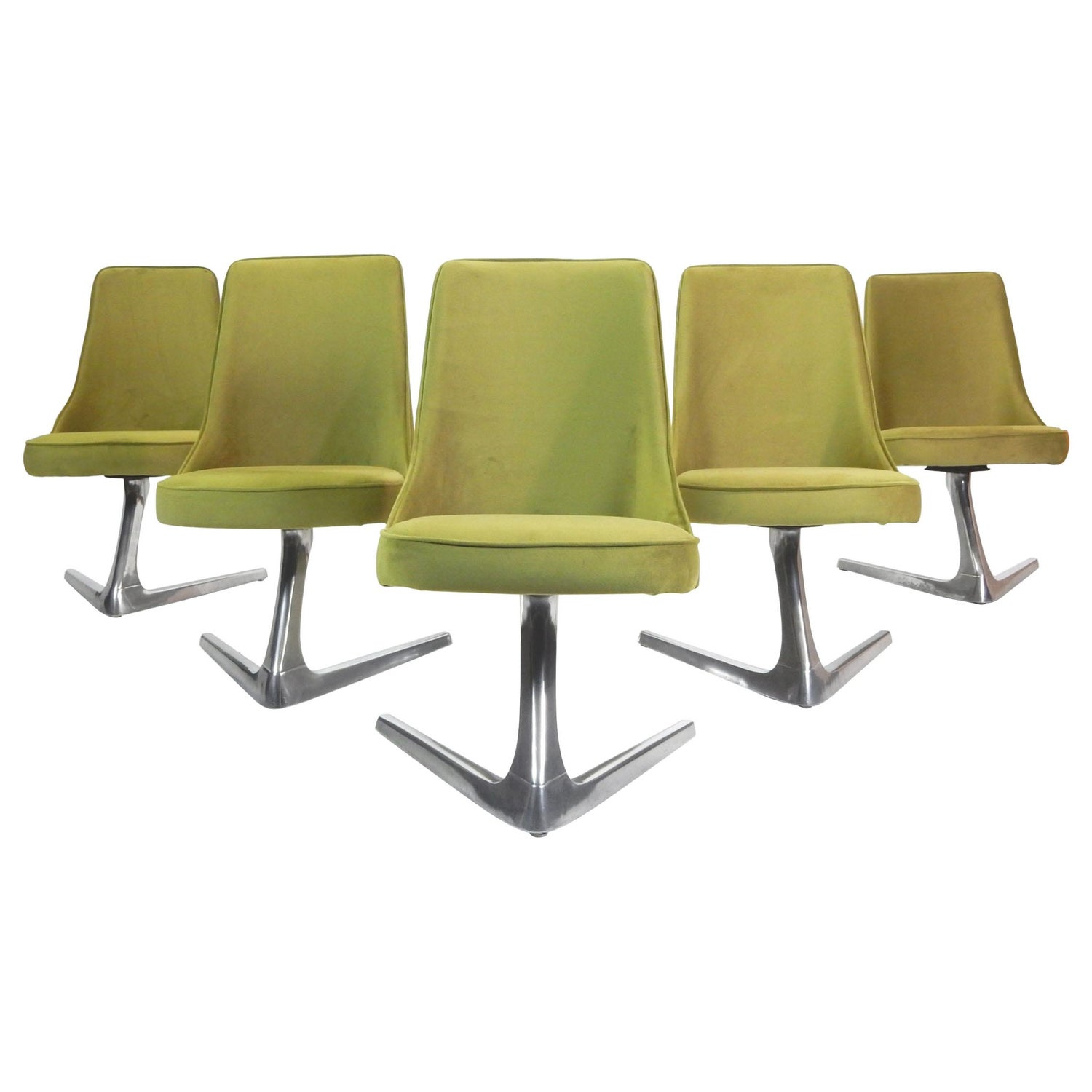Marvelous Six Midcentury Green Velvet Swivel Dining Chairs Unemploymentrelief Wooden Chair Designs For Living Room Unemploymentrelieforg