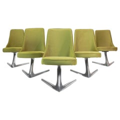 Six Mid Century Green Velvet Swivel Dining Chairs