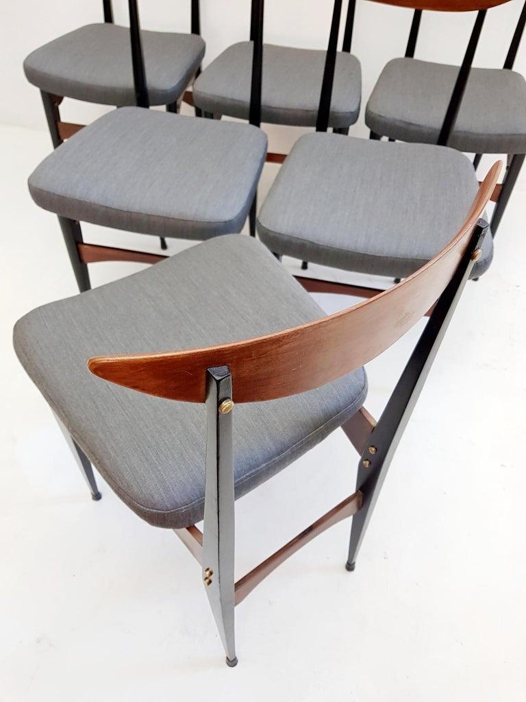 Six Midcentury Italian Dining Chairs In Good Condition In Albano Laziale, Rome/Lazio