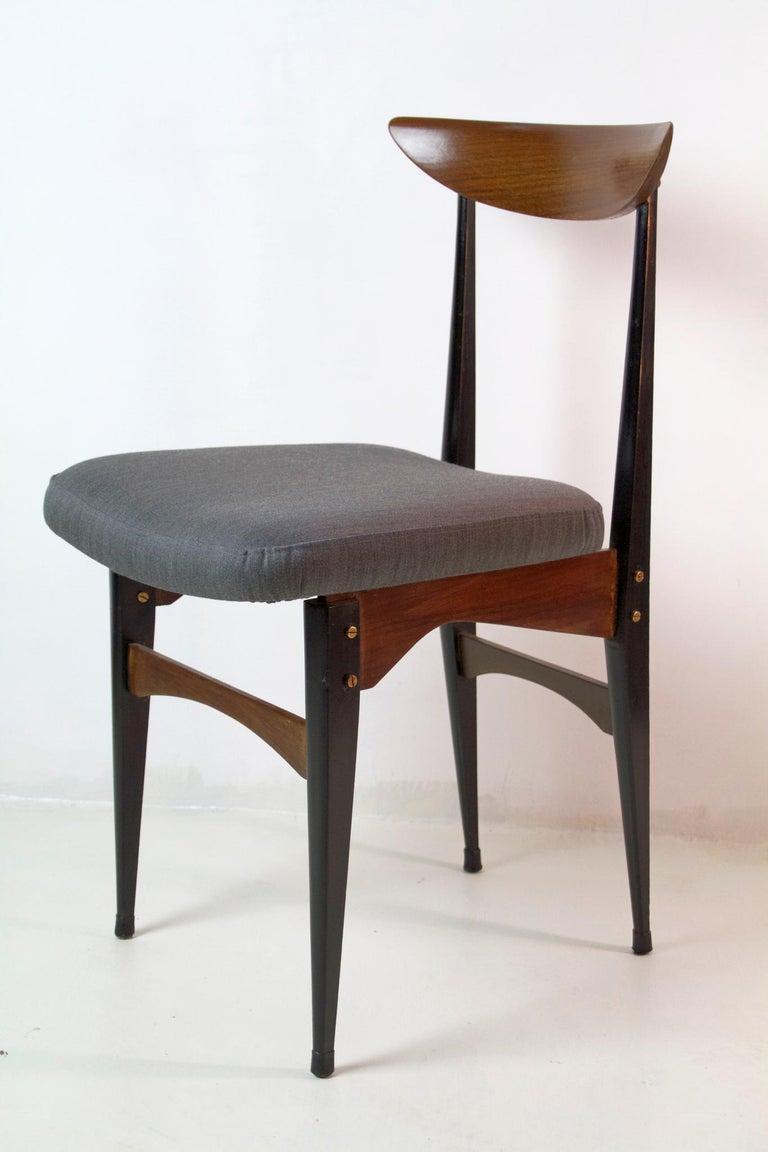 Wool Six Midcentury Italian Dining Chairs