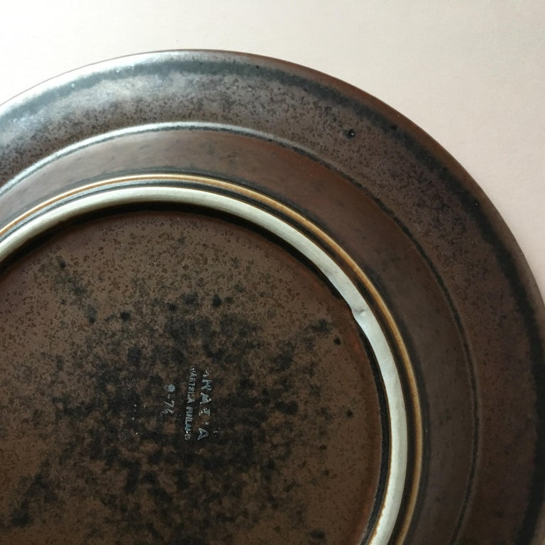 Six Midcentury Ruska Stoneware Cereal or Soup Plates from Arabia, Finland In Good Condition For Sale In Riga, Latvia