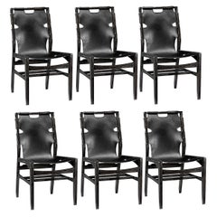 Six Midcentury Style Dining Chairs in Blackened Solid Oak