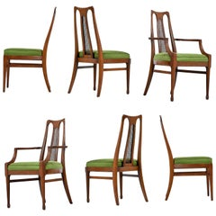 Six Midcentury Walnut High Back Cane Dining Chairs with New Nubby Green Fabric