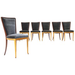 Six Midcentury wood and velvet dining chairs, 1940s