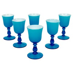 Six Midcentury, Carlo Moratti Wine Goblets, in Turquoise and White Murano Glass