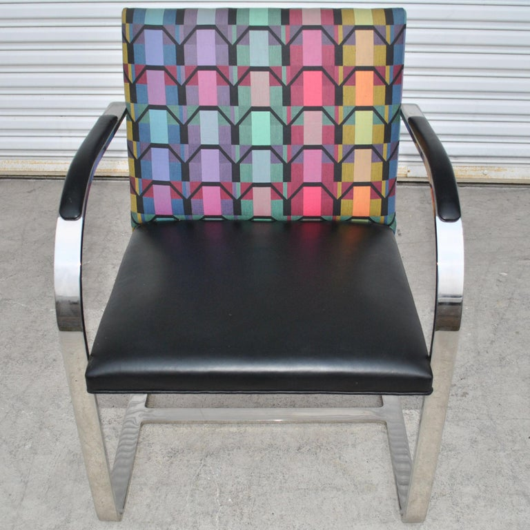 Six Mies Van Der Rohe Style Flat Bar Brno Arm Chairs For Sale 4