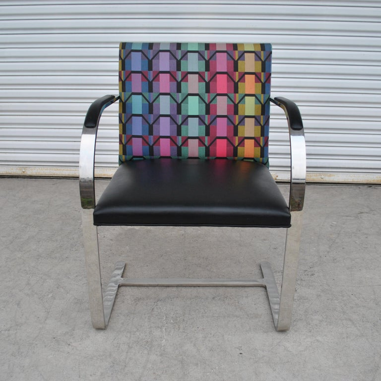 Six Mies Van Der Rohe Style Flat Bar Brno Arm Chairs For Sale 5