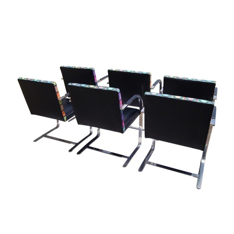 Six Mies Van Der Rohe Style Flat Bar Brno Arm Chairs In Good Condition For Sale In Pasadena, TX