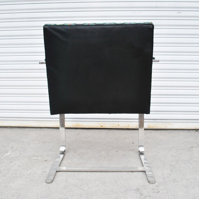 Stainless Steel Six Mies Van Der Rohe Style Flat Bar Brno Arm Chairs For Sale