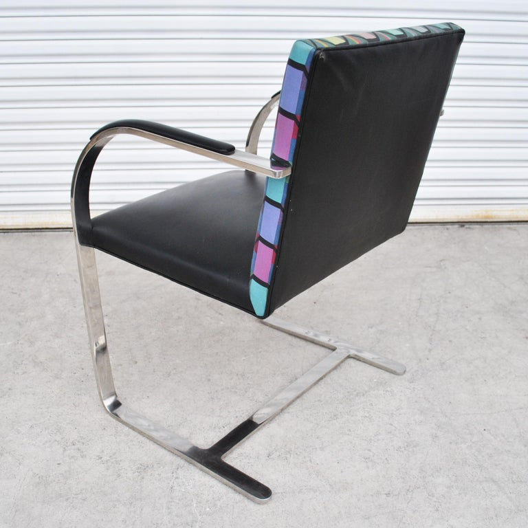 Six Mies Van Der Rohe Style Flat Bar Brno Arm Chairs For Sale 1