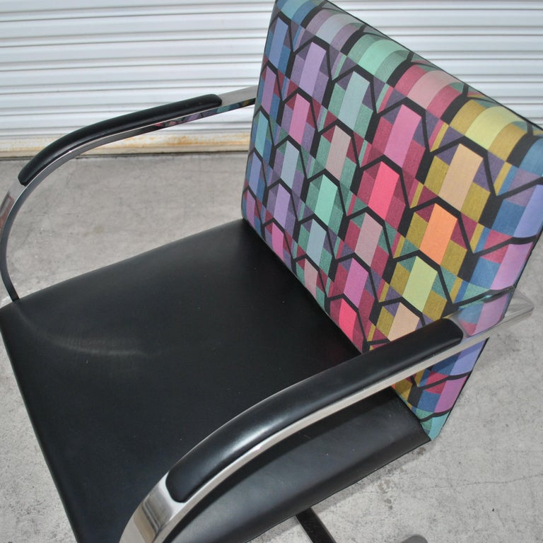 Six Mies Van Der Rohe Style Flat Bar Brno Arm Chairs For Sale 3