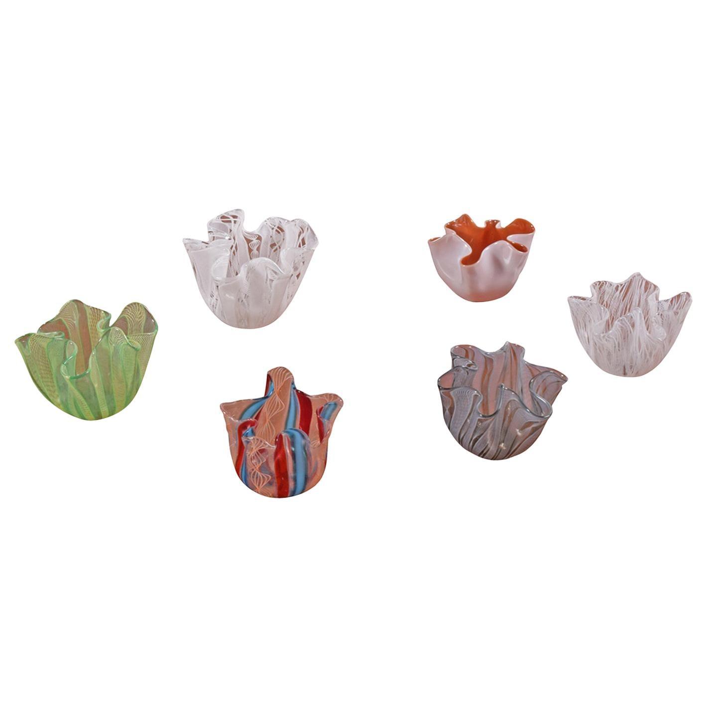 Six Mini Venini Murano Art Glass Zanfirico Fazzoletto Handkerchief Vases