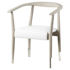 Six Modern Dining Armchairs in White Oak and Leather