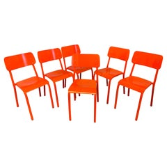 Six Modern ML45 Neon Red Chairs by Declercq Mobilier