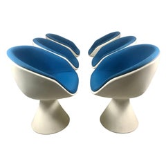 Six Modern Space Age Swivel Tulip chairs by Maurice Burke for Arkana, 1960s