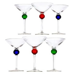 Six Murano Martini Glass, Clear with Cobalt, Red and Green Sphere, Cenedese