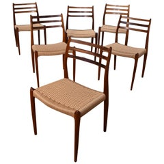 Six Niels Moller Model 78 Brazilian Rosewood Chairs With Newly Woven Paper Cord
